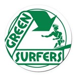 Green Surfers 10 Round Car Magnet
