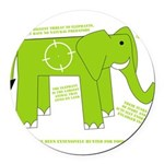 Elephant Round Car Magnet