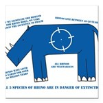 Rhino Facts Square Car Magnet 3