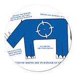 Rhino Facts Round Car Magnet