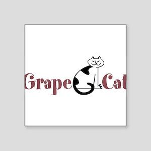 "Grape Cat Square Sticker 3"" x 3"""