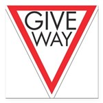 Give Way 10 Square Car Magnet 3