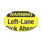 WarningYellow10 Oval Car Magnet