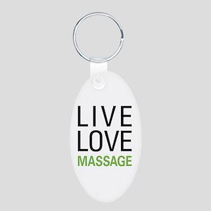 Live Love Massage Aluminum Oval Keychain