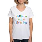 CHILDREN ARE A BLESSING Women's V-Neck T-Shirt