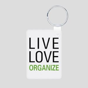 Live Love Organize Aluminum Photo Keychain