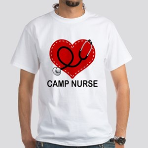 Camp Nurse Heart White T-Shirt