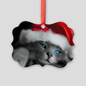 SANTA KITTY Picture Ornament
