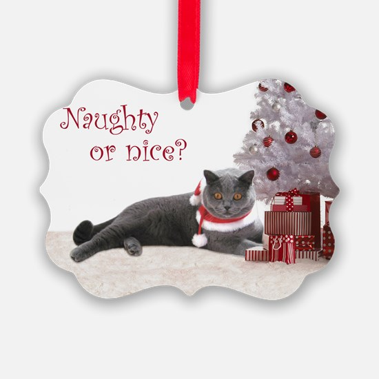 Cat Under Christmas Tree Ornament