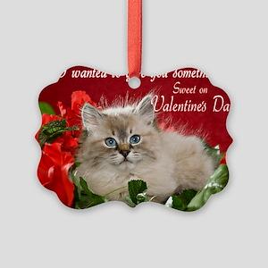 Siberian Kitten Valentine's Day Picture Ornament