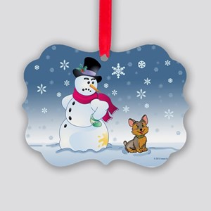 Yorkshire Terrier and Snowman Picture Ornament