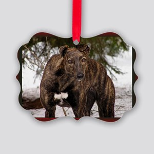 Red Brindle Christmas Picture Ornament