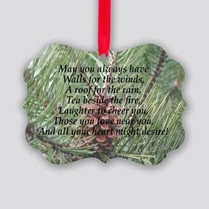Irish Christmas Blessing Picture Ornament