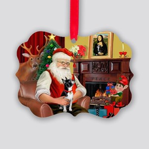 Santa's Boston Terrier Picture Ornament