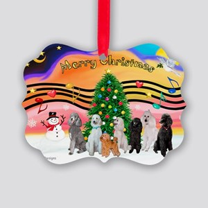 XmasMusic2 / 7 Poodles Picture Ornament