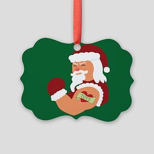 Santa Tattoo Picture Ornament