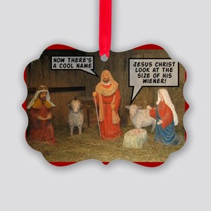 Offensive nativity scene Xmas Picture Ornament