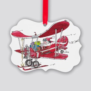 Santa Biplane Picture Ornament