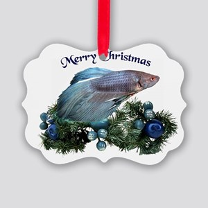 Christmas Blue Betta Picture Ornament