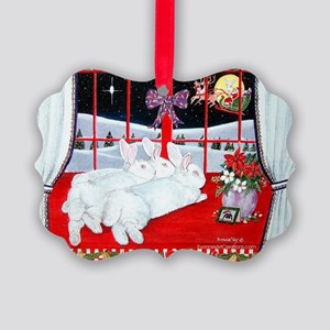 White Rabbits and Santa Christmas Picture Ornament