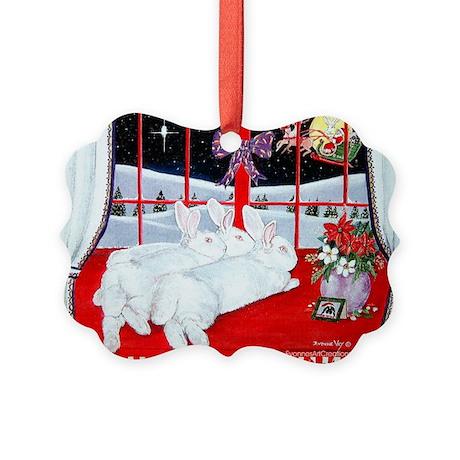 White Rabbits and Santa Christmas Picture Ornament