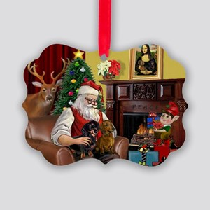 Santa's 2 Doxies (R+B) Picture Ornament