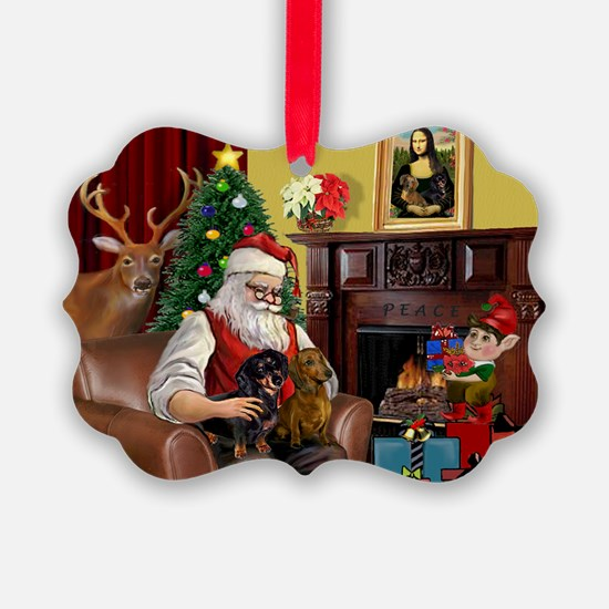 Santa's 2 Doxies (R+B) Ornament