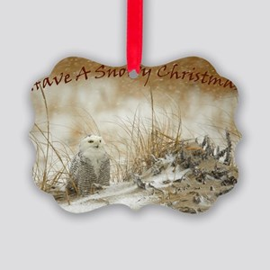 Snowy Owl Christmas Picture Ornament