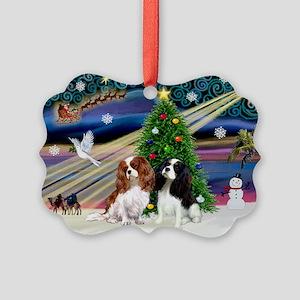 XmasMagic/2 Cavaliers Picture Ornament