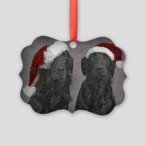Flat-Coat Christmas Picture Ornament