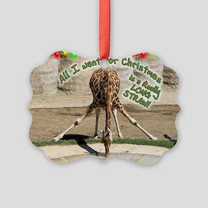 Xmas Drinking Giraffe Picture Ornament