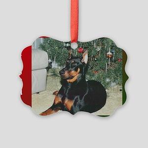 Doberman Festive Picture Ornament