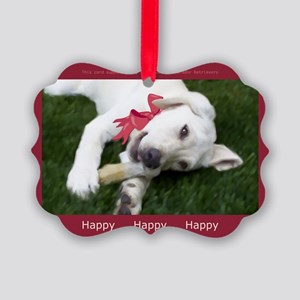 Be Happy Yellow Labrador Picture Ornament