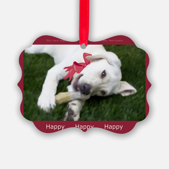 Be Happy Yellow Labrador Ornament