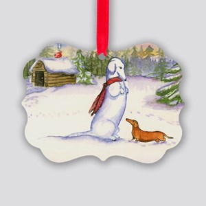 Red Snow Dachshund Picture Ornament