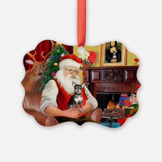 Santa's Chih (b&t) Ornament