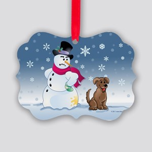 Funny Snowman and Brown Lab dog Picture Ornament
