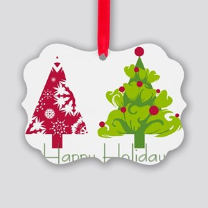 Chic Trees Happy Holiday Picture Ornament