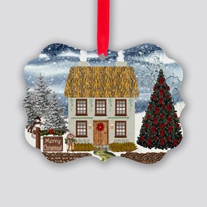 Merry Christmas Cottage Picture Ornament