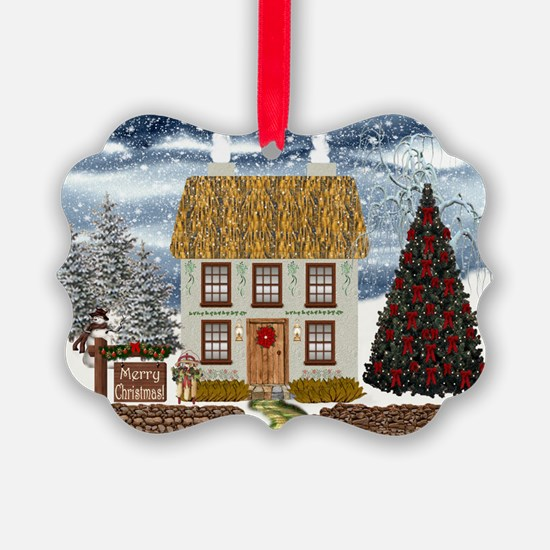 Merry Christmas Cottage Ornament