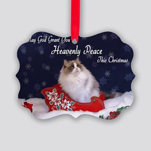 """Heavenly Peace"" Ragdoll Cats Picture Ornament"