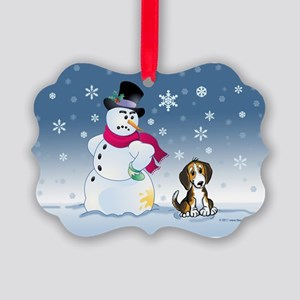 Beagle dog and Snowman Picture Ornament