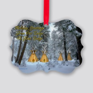 Tipi Village Christmas Picture Ornament