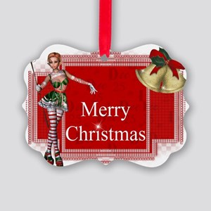Merry Christmas Elf D1 Picture Ornament