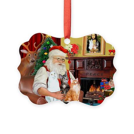 Santa's 3 cats Picture Ornament