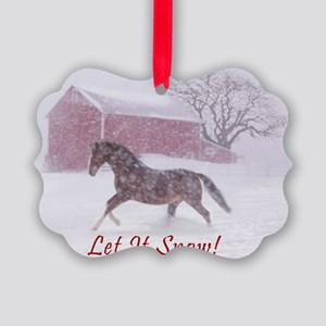 Let It Snow! Christmas Horse Barn Picture Ornament