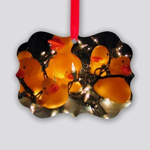 Holiday Lights Ducks Picture Ornament