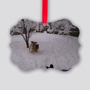 Playing in the Snow Picture Ornament