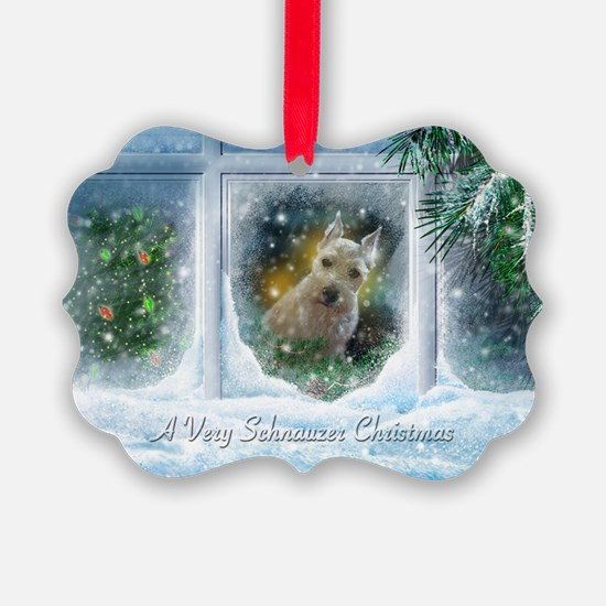 """""""Schnauzer Christmas"""" Picture Ornament20 pack)"""