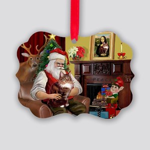 Santa's Maine Coon Picture Ornament
